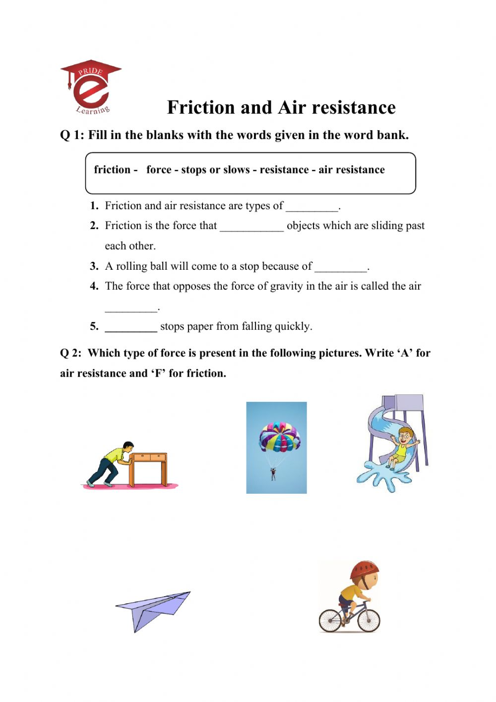hight resolution of Forces interactive activity for 5