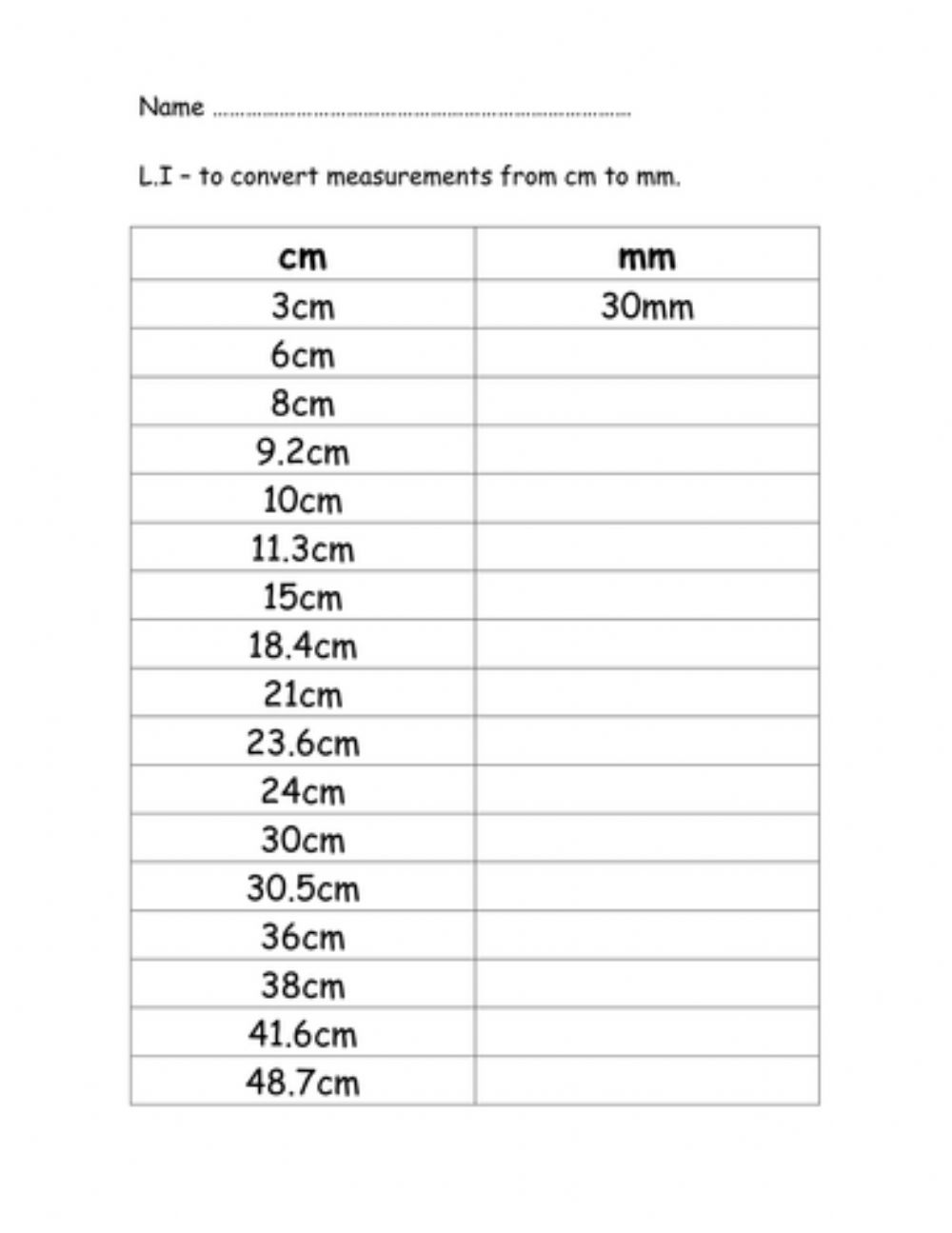 hight resolution of Converting cm to mm worksheet