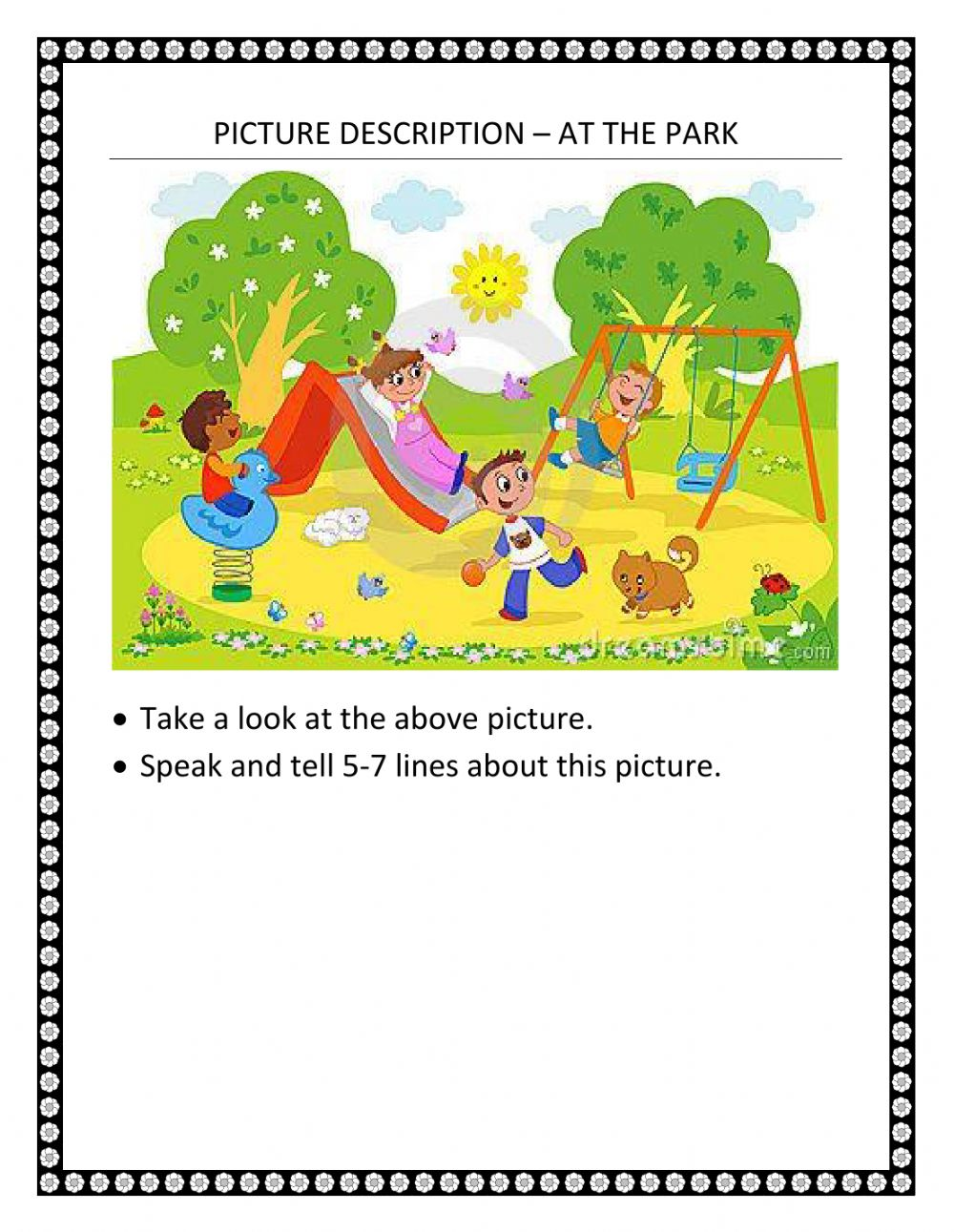 hight resolution of Picture description – at the park worksheet