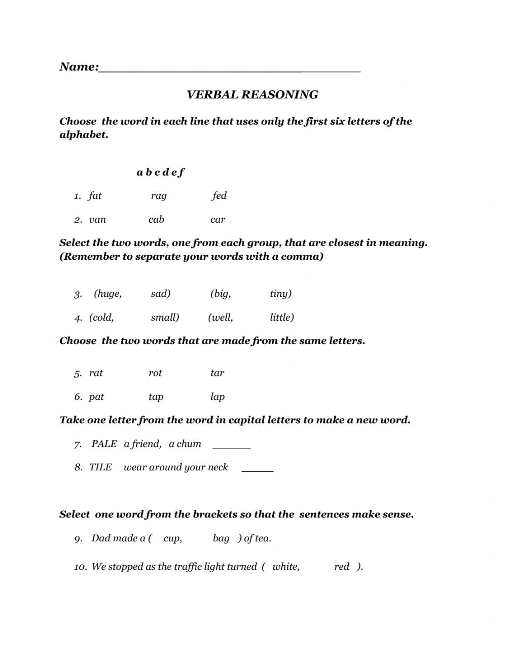 hight resolution of Verbal Reasoning exercise