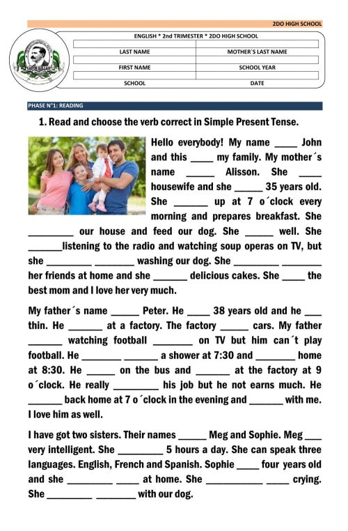 small resolution of Simple present tense - reading worksheet