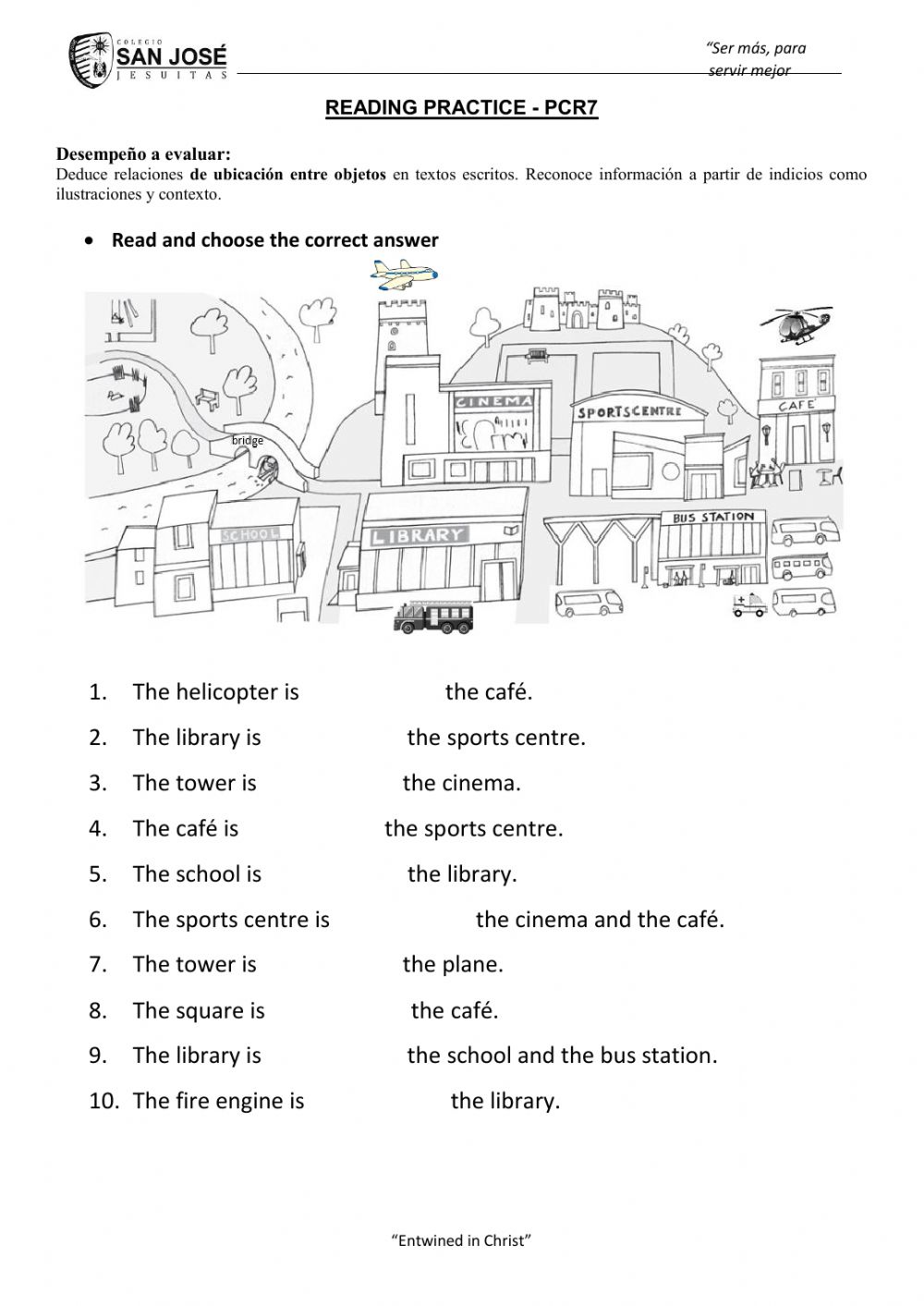 hight resolution of Prepositions of place online exercise for 3rd grade