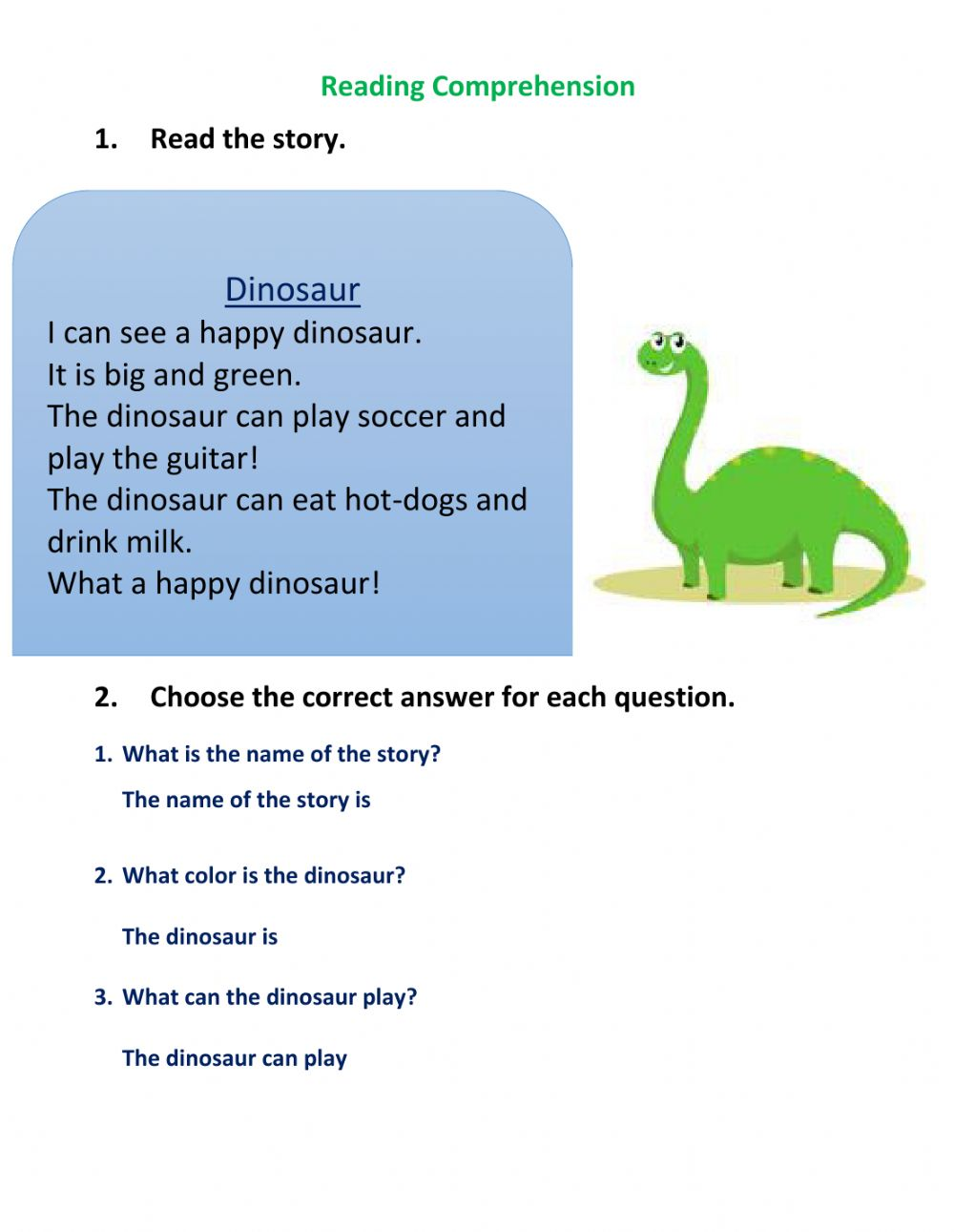 hight resolution of 30+ Reading Comprehension Grade 4 Dinosaurs Pics · Worksheet Free For You
