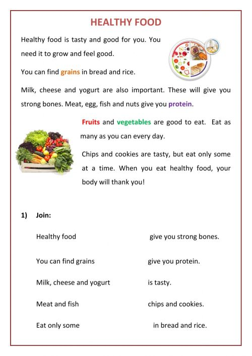 small resolution of Reading Comprehension: Healthy Food worksheet