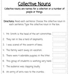 Collective Nouns worksheet for 2 [ 1291 x 1000 Pixel ]