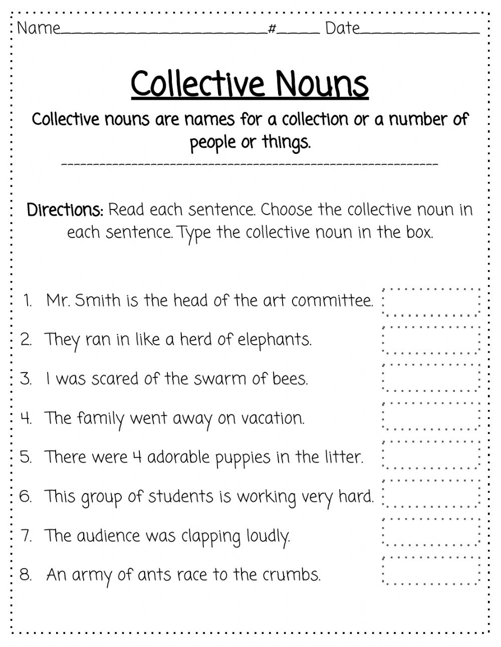 hight resolution of Collective Nouns worksheet for 2