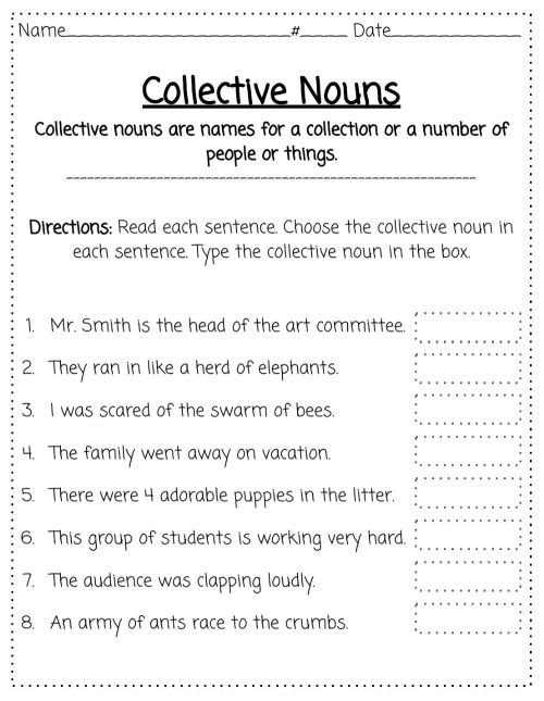 small resolution of Collective Nouns worksheet for 2