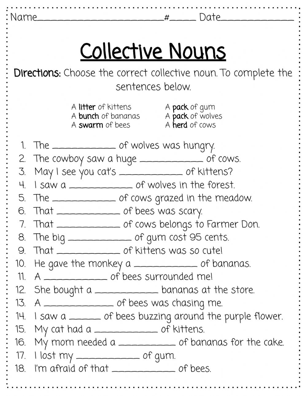 hight resolution of Collective Nouns activity for 2