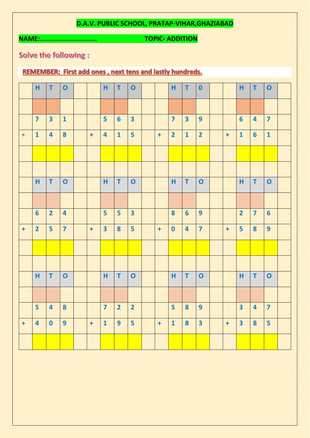 hight resolution of Addition 3-digit numbers worksheet