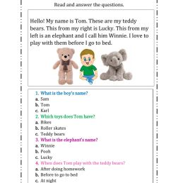 Reading comprehension online exercise for First Grade [ 1413 x 1000 Pixel ]