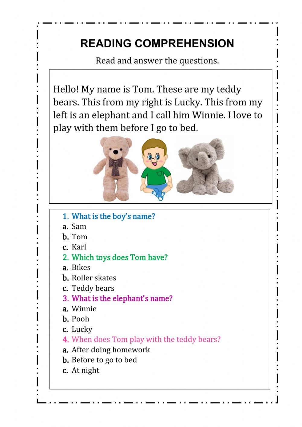 hight resolution of Reading comprehension online exercise for First Grade