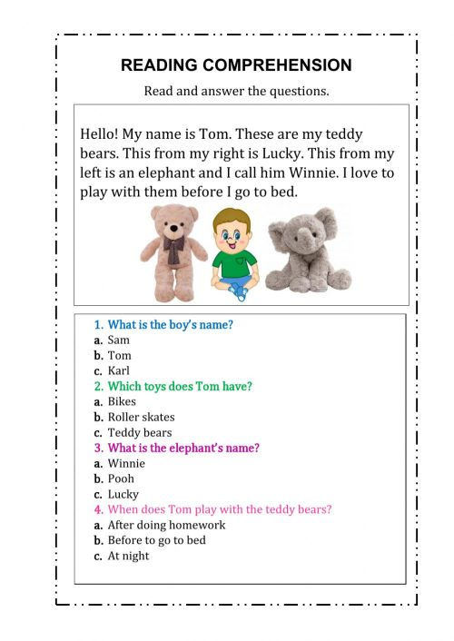 small resolution of Reading comprehension online exercise for First Grade
