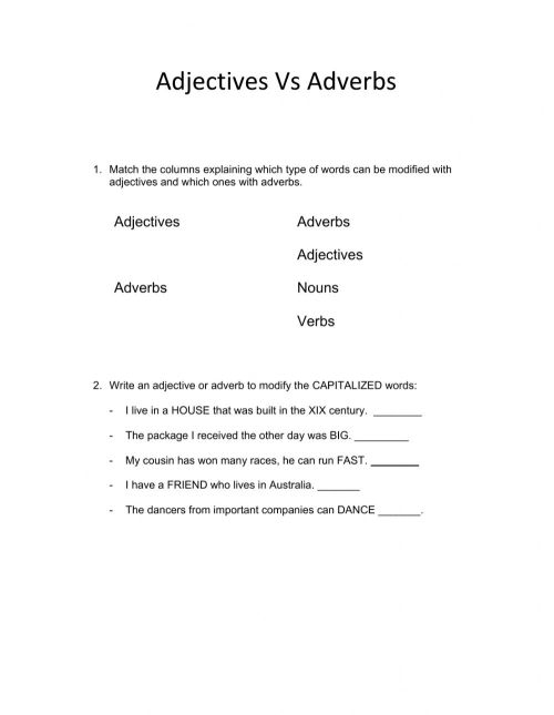small resolution of Adjectives Vs. Adverbs interactive worksheet