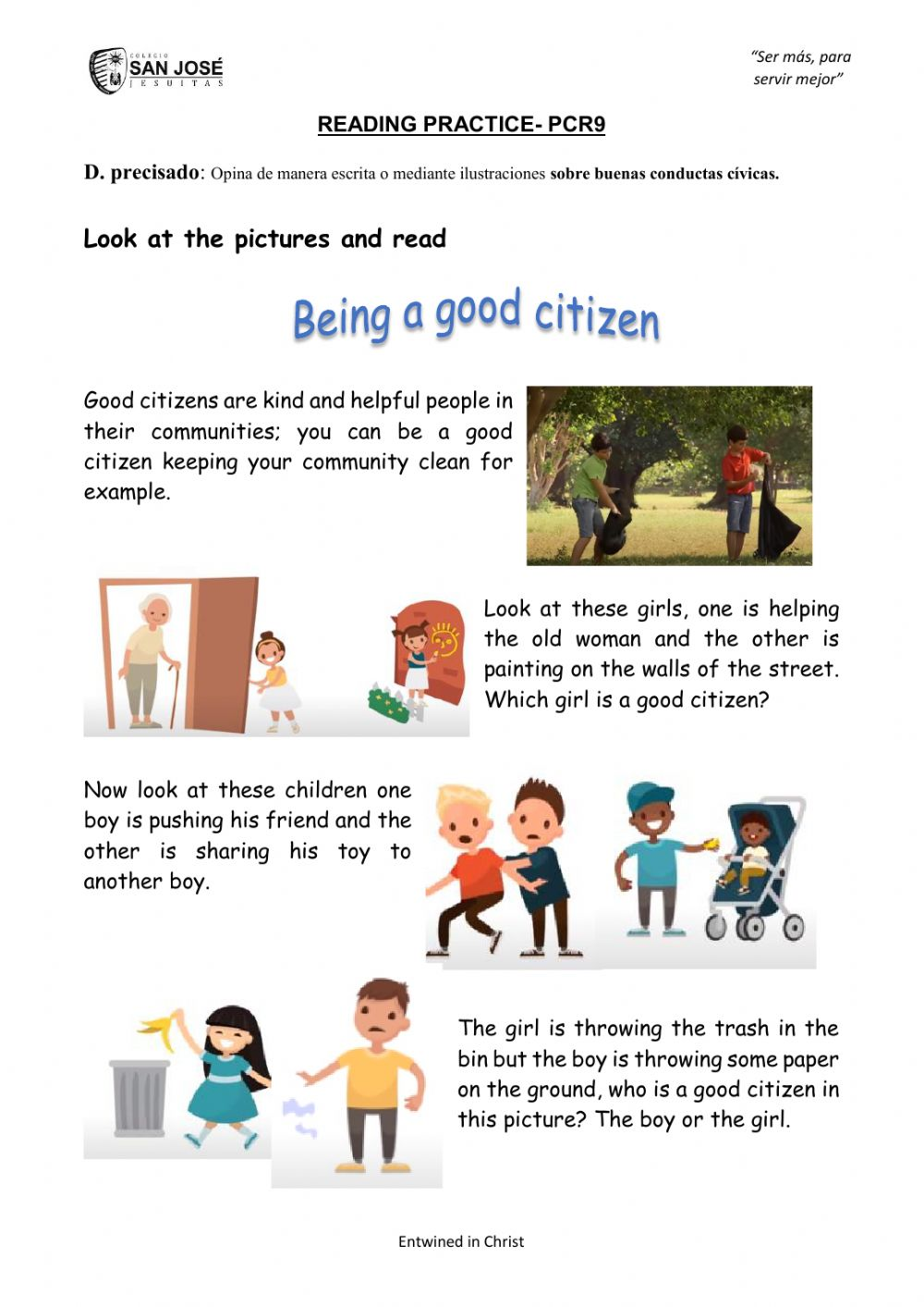 hight resolution of Being a good citizen exercise