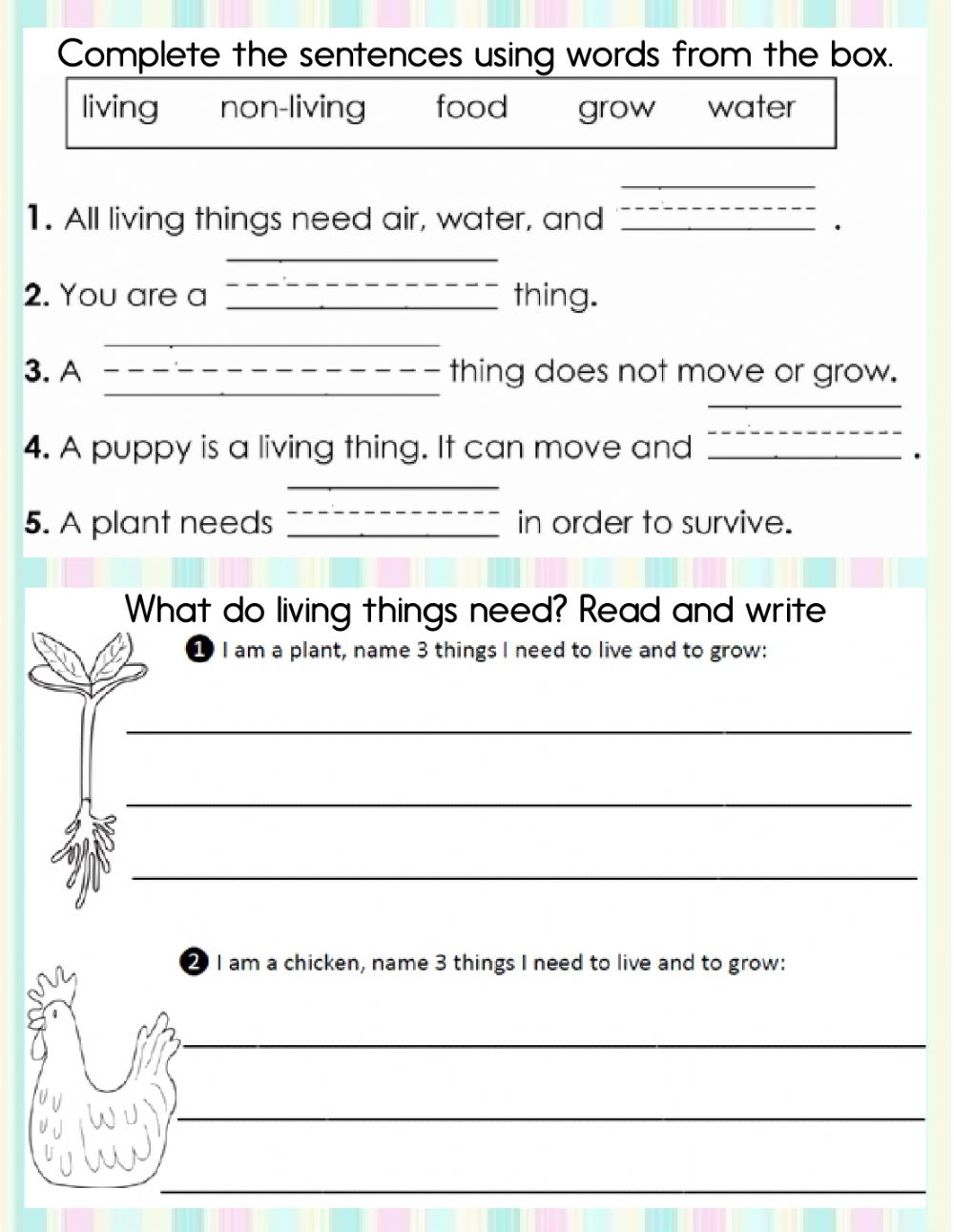 medium resolution of Living and non-living things online worksheet for First grade