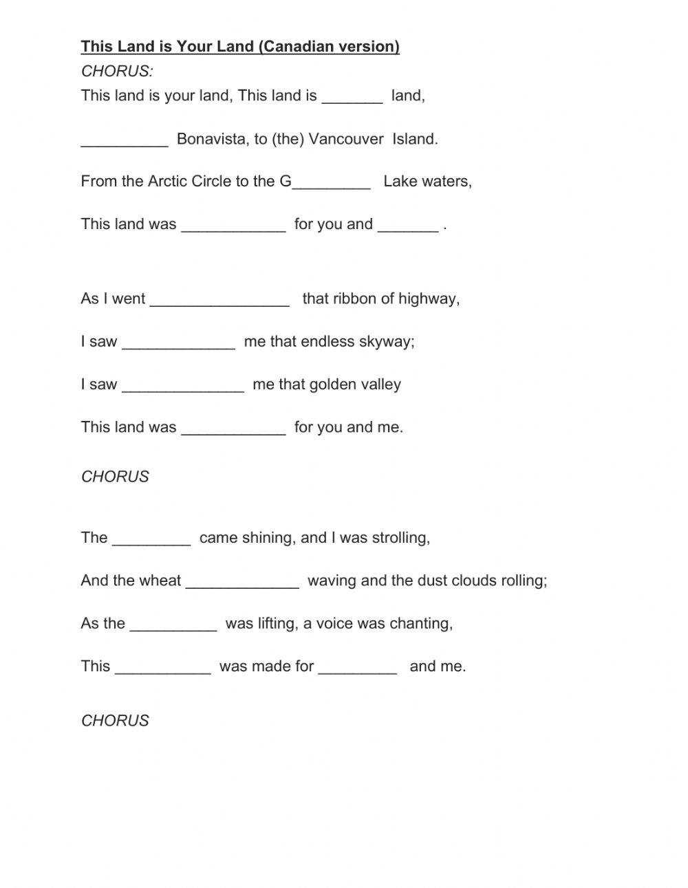 hight resolution of This Land is Your Land (Canadian version) worksheet