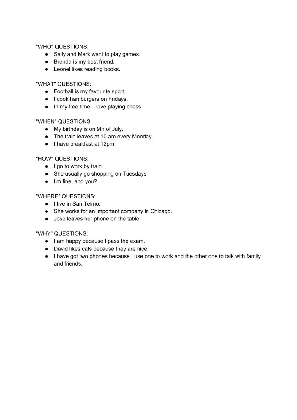 hight resolution of Wh question words- present simple worksheet
