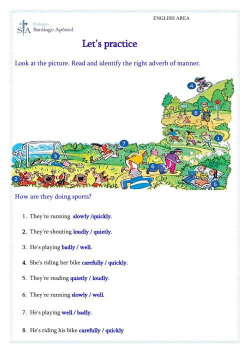 small resolution of Adverbs of Manner interactive worksheet for Grade 4th