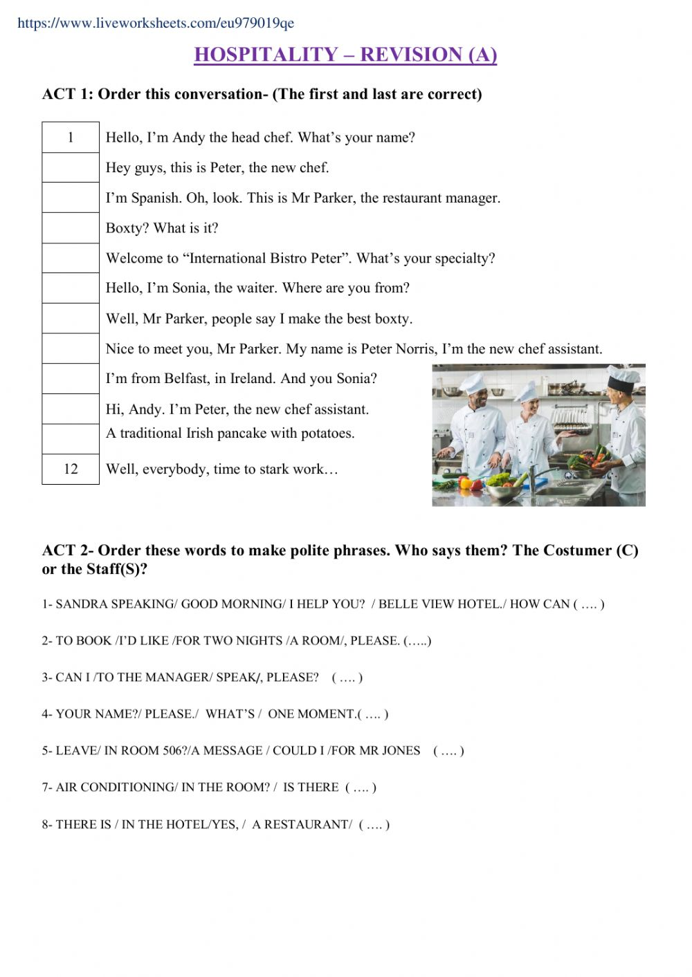 hight resolution of Hospitality- Revision A worksheet