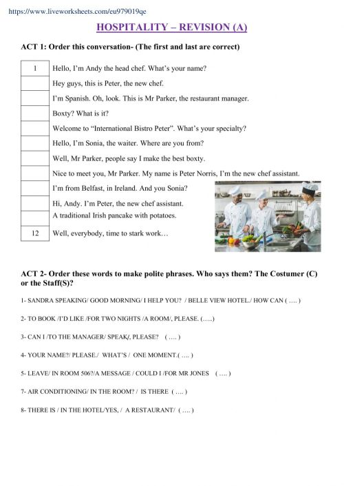 small resolution of Hospitality- Revision A worksheet