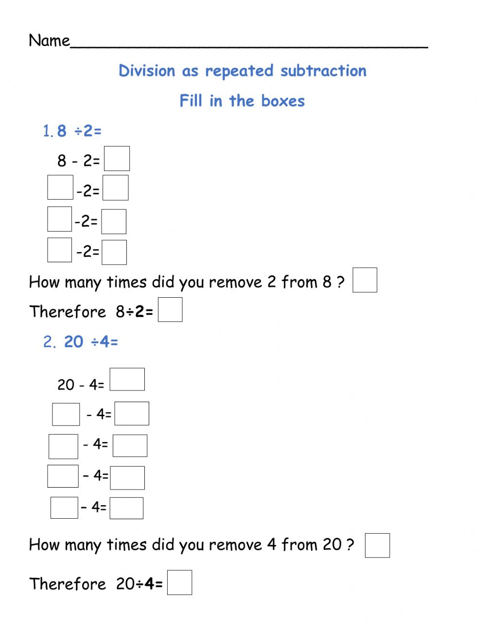 hight resolution of Division as repeated subtraction worksheet
