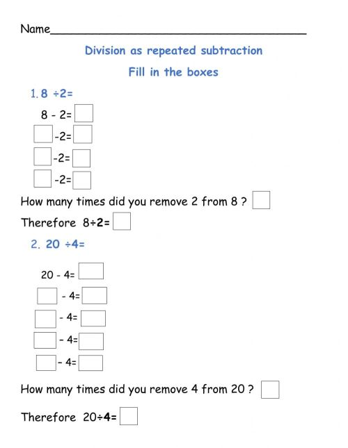 small resolution of Division as repeated subtraction worksheet