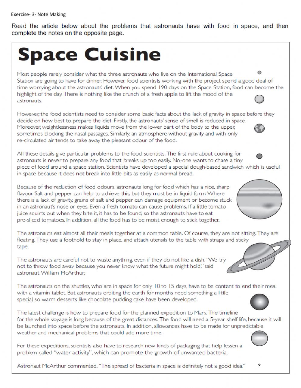 hight resolution of Space cuisine (Note Making) worksheet
