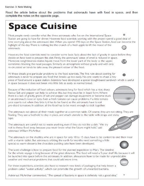 small resolution of Space cuisine (Note Making) worksheet