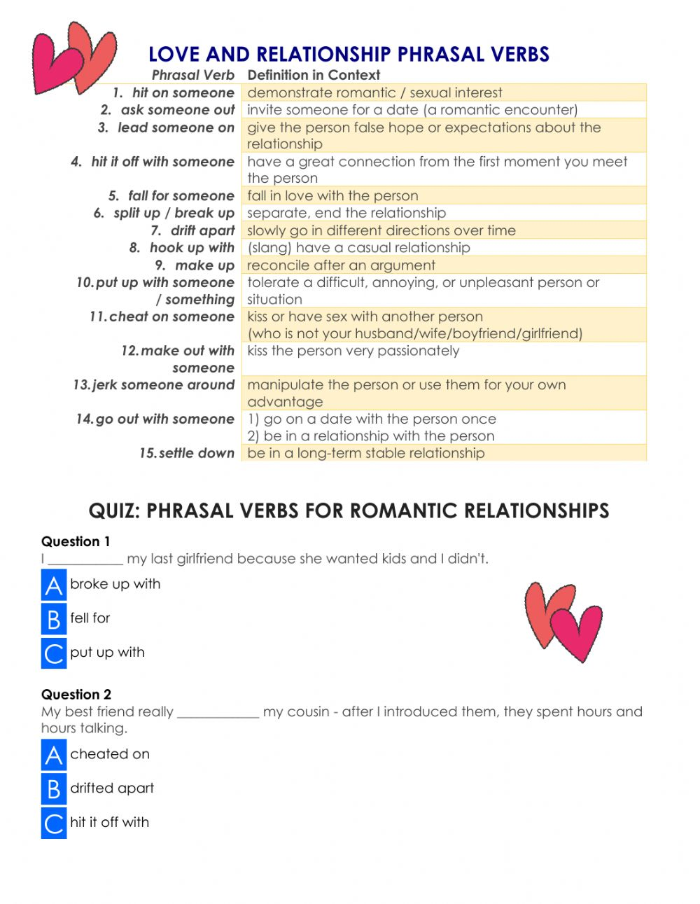 hight resolution of Love and relationship Phrasal Verbs worksheet