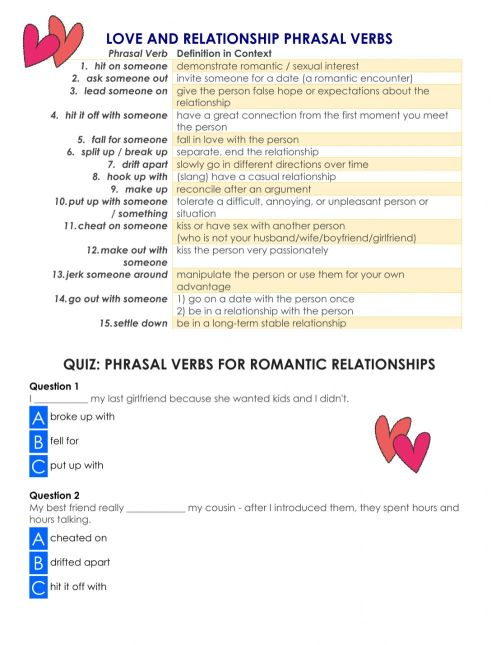 small resolution of Love and relationship Phrasal Verbs worksheet