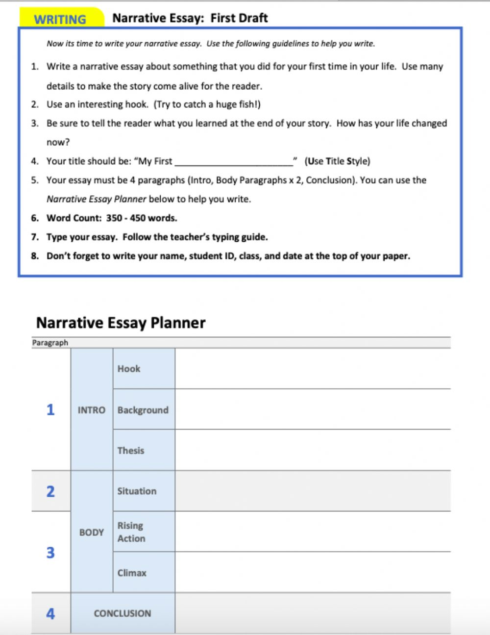 hight resolution of Planning a narrative essay worksheet