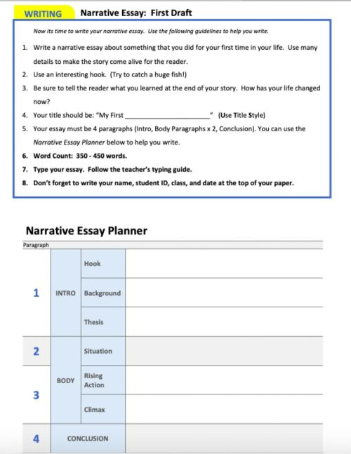 small resolution of Planning a narrative essay worksheet