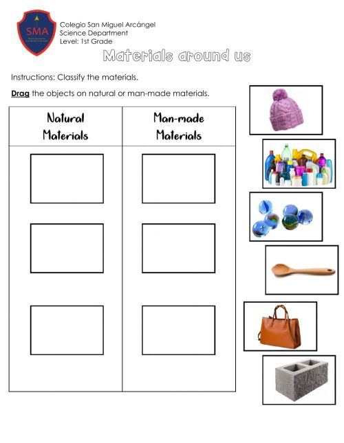 small resolution of Materials around us worksheet