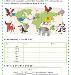 Animals representing the countries worksheet [ 1413 x 1000 Pixel ]