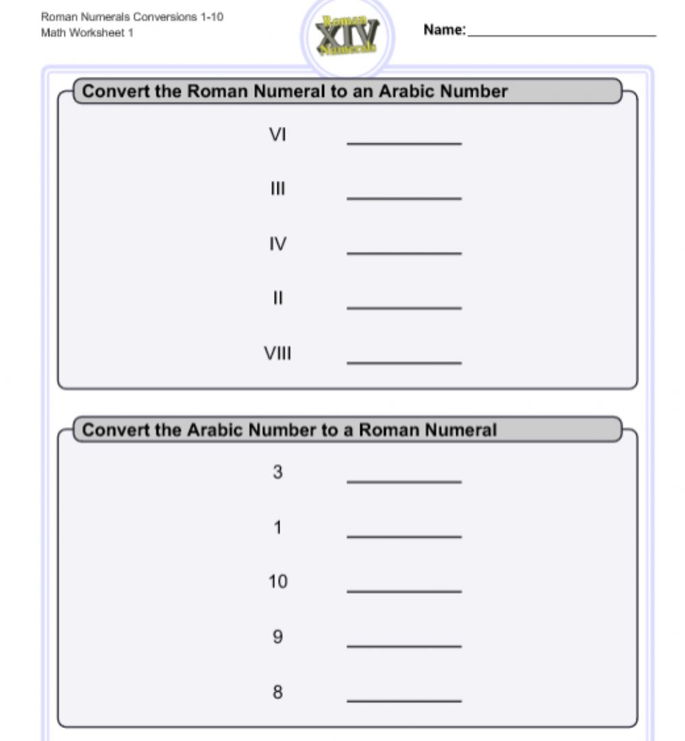 hight resolution of Math Roman Numbers 2 worksheet