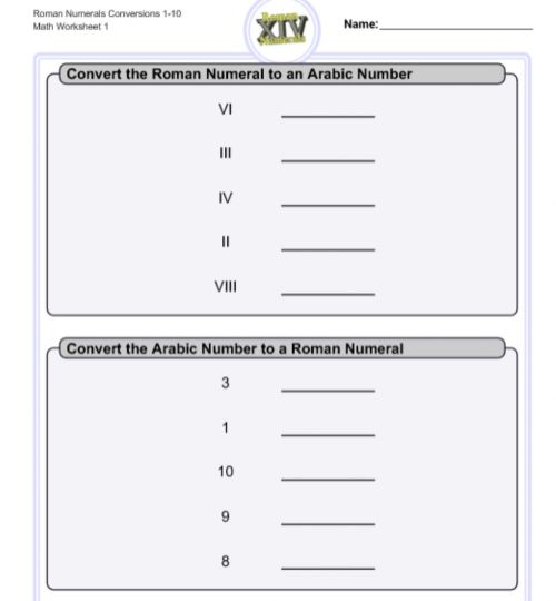 small resolution of Math Roman Numbers 2 worksheet