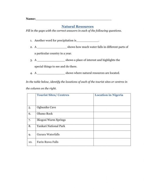 small resolution of Natural resources online worksheet