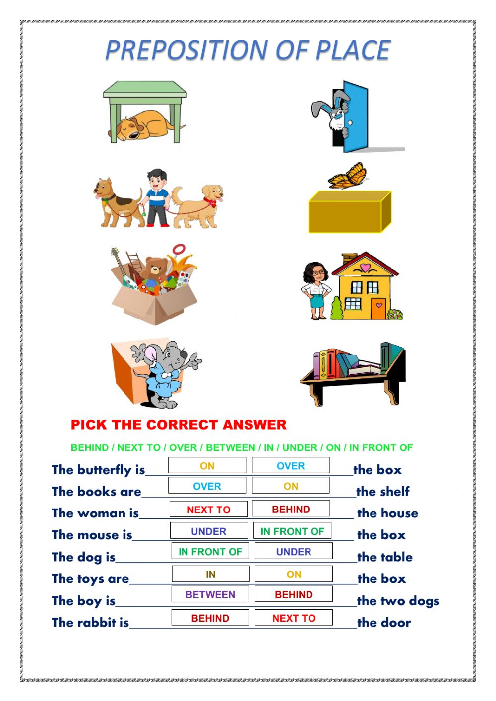 hight resolution of Preposition of place activity for Grade 1-2 Secc.