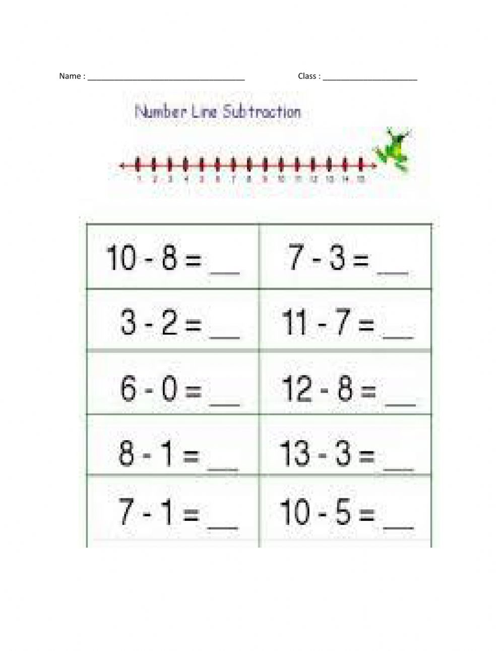 hight resolution of Number line subtraction activity