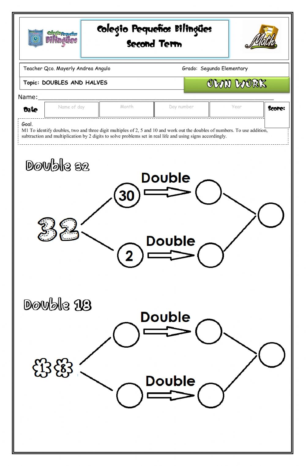hight resolution of Own work- doubles and halves worksheet