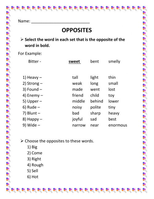 small resolution of Opposite Words interactive worksheet
