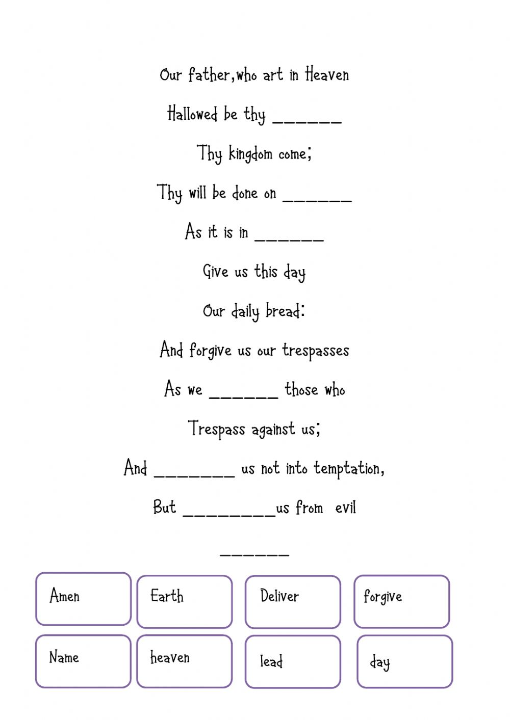 hight resolution of Our father interactive worksheet
