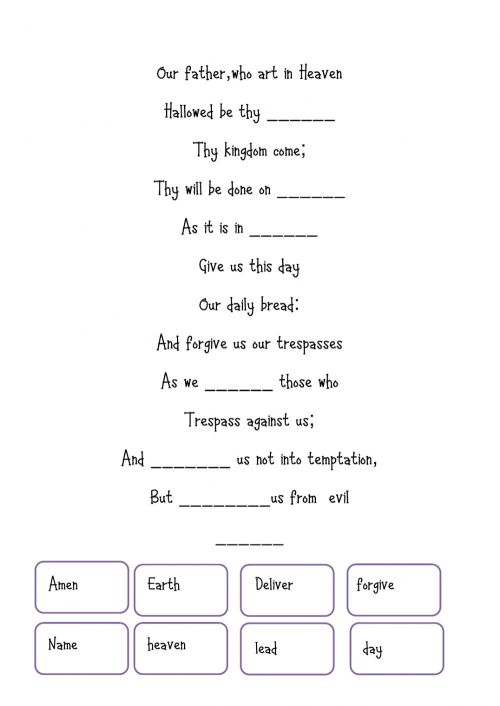 small resolution of Our father interactive worksheet