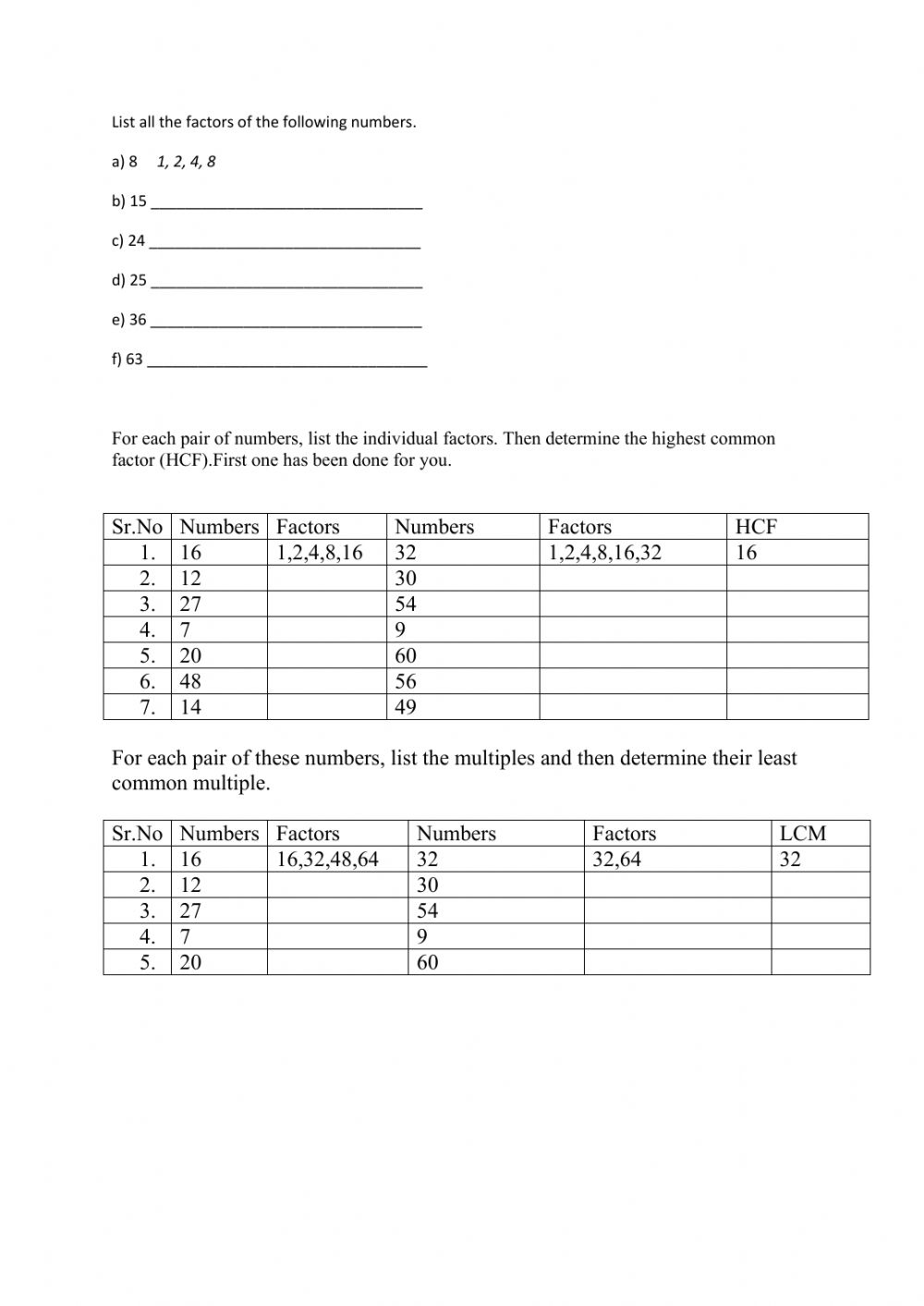 hight resolution of HCF and LCM worksheet