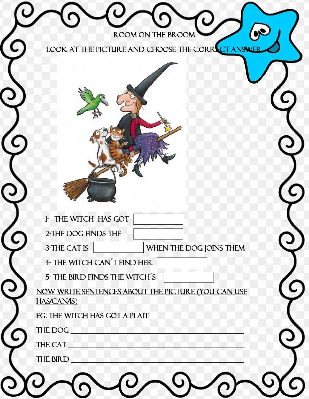 hight resolution of Room on the broom worksheet for 2nd grade