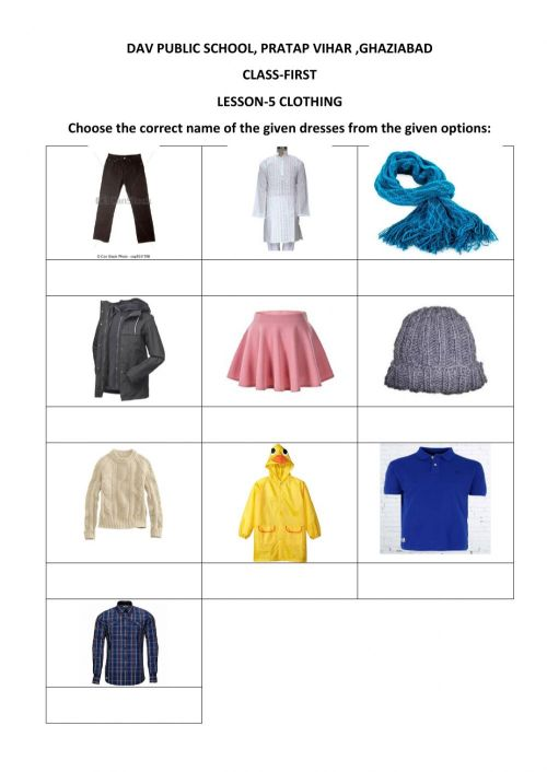 small resolution of Evs clothing worksheet