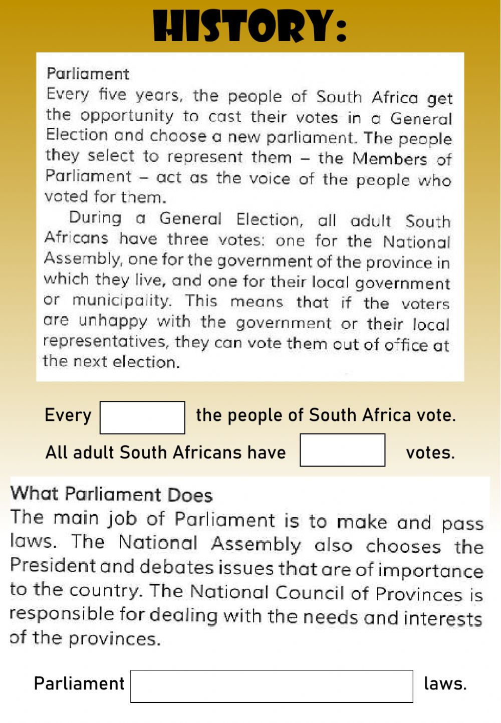medium resolution of WEEK 24: MONDAY: Parliament worksheet