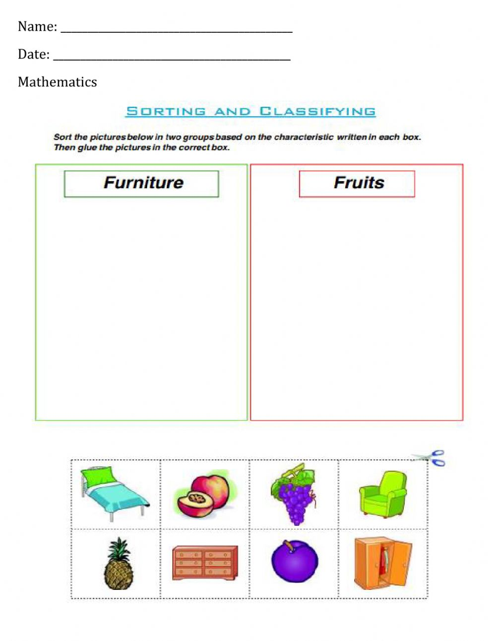 medium resolution of Sorting and Classifying - 2 worksheet