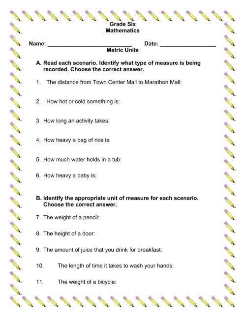 small resolution of Using Metric Units worksheet