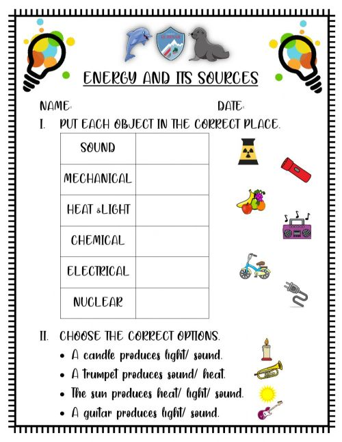 small resolution of Energy and its sources worksheet